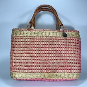The SAK Wicker Basket Tote Bag in Pink
